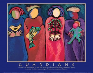 Child Guardians | Guardian ad Litem: Image shows 4 adult female images. They are in bright colors. One woman is a bird aloft, another is holding a fish, the third is holding a small tree, and the fourth is holding a baby.