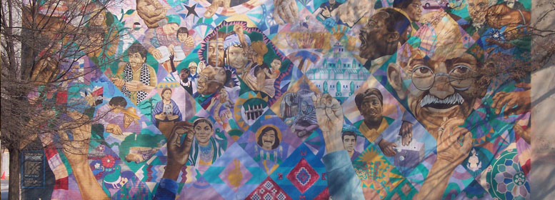 Art on a wall depicting diversity